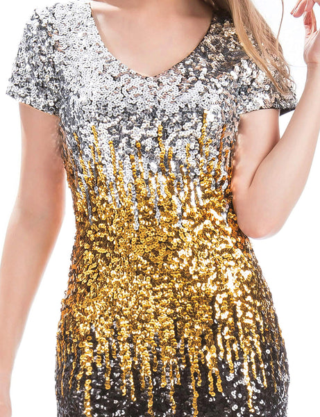 MANER Women's Sequin Glitter Short Sleeve Dress Sexy V Neck Mini Party Club Bodycon Dresses - wiihuu