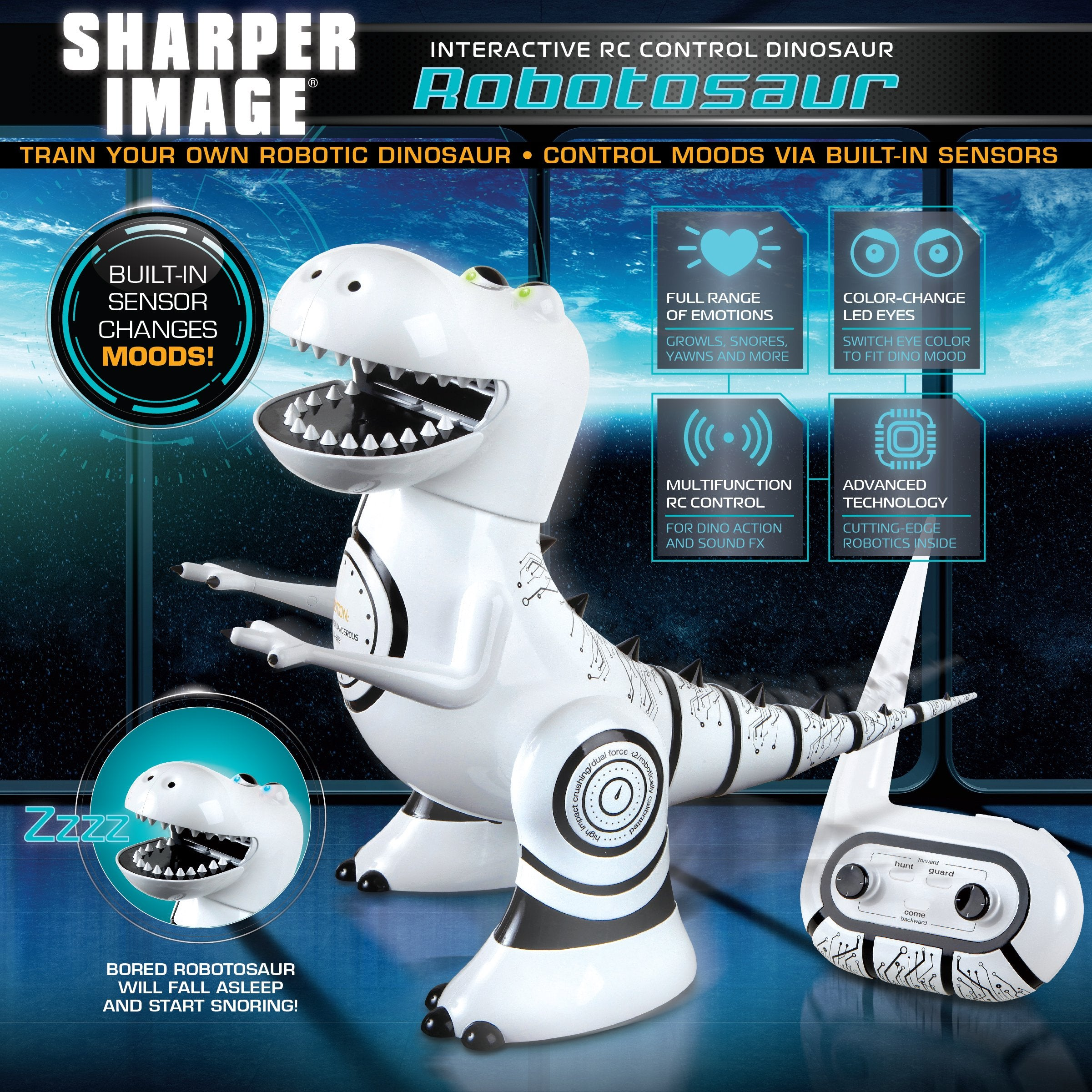 Sharper Image Interactive RC Robotosaur Dinosaur, Built-in Mood Sensors and Color-Changing LED Eyes, Motion Detection, Growls, Snores, Battery Operated- White/Black - wiihuu