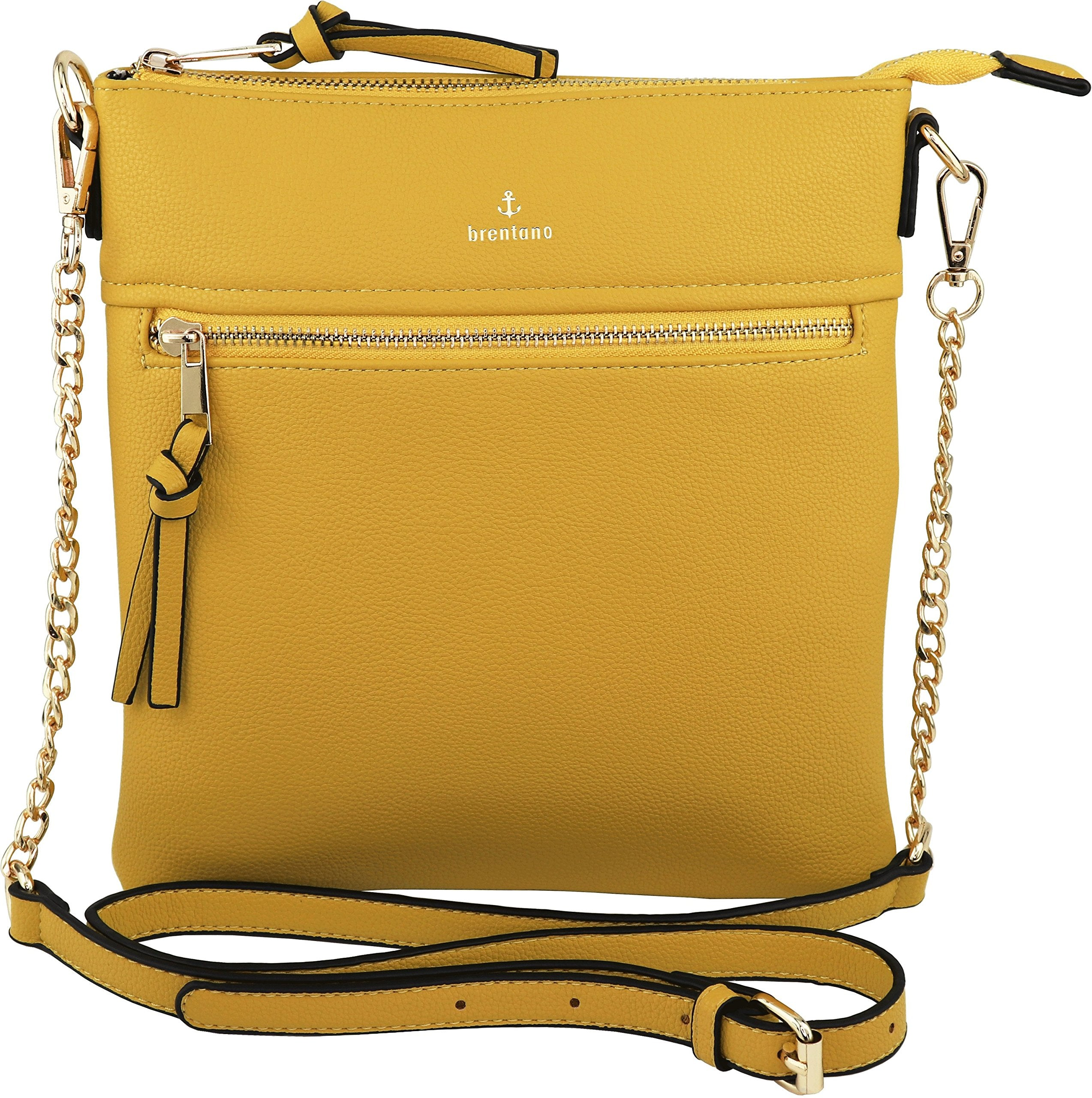 Vegan Double-Zipper Crossbody Bag with Chain Strap (Yellow) - wiihuu