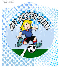 "Load image into Gallery viewer, SOCCER STAR (GIRL)<br><FONT SIZE=""3"">FLAT MASK</FONT>"