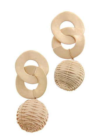 Gold + Straw Ball Earrings