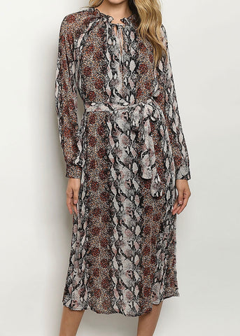 Rust Snakeskin Mixed Midi Dress