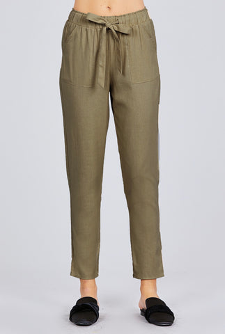 Olive High Waist Cropped Pants
