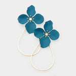 Teal Flower Teardrop Earrings
