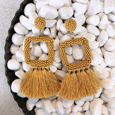 Mustard Beaded Tasseled Earrings