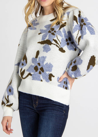 Floral Balloon Sleeve Sweater