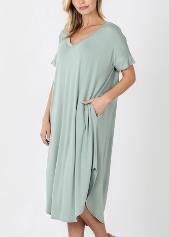 Light Sage T-Shirt Midi Dress