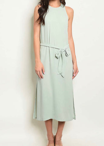 Mint Tie-Waist Shift Midi Dress