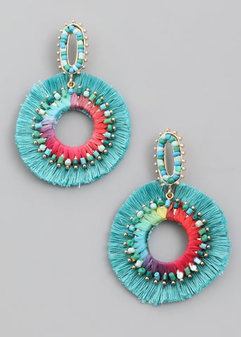 Turquoise Multi Circle Fringe Earrings