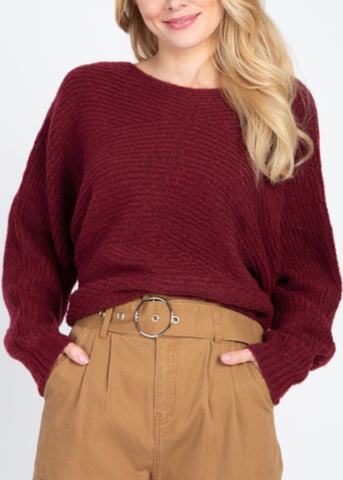 Burgundy Ribbed Detail Sweater