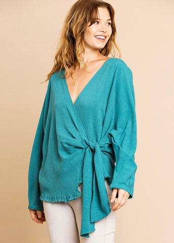 Teal Linen Blend Wrap Top