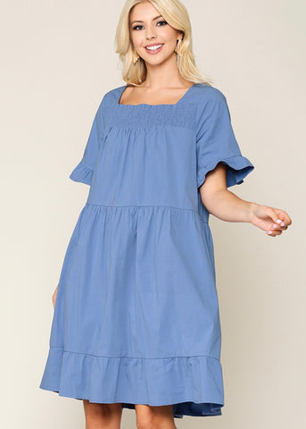 Square Neck Cotton Swing Dress