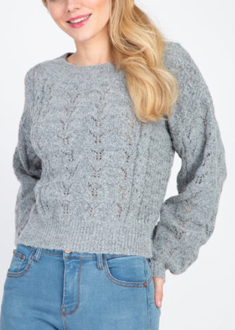 Heather Grey Cabled Sweater