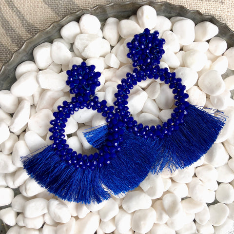 Royal Beaded Fan Fringe Earrings