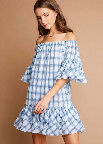 Blue Plaid Ruffled Dress