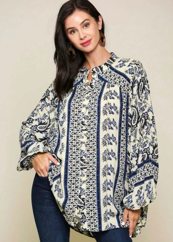 Border Print Button Down Blouse