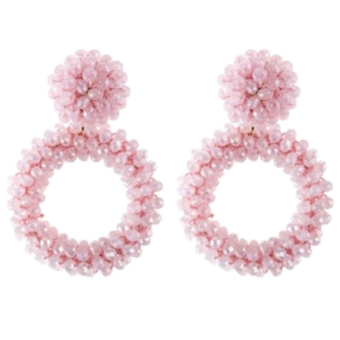 Light Pink Beaded Earrings