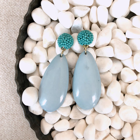 Aqua Beaded + Acrylic Teardrop Earrings