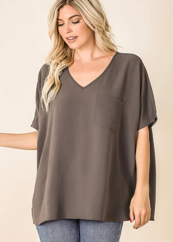 V-Neck Pocket Dolman Top