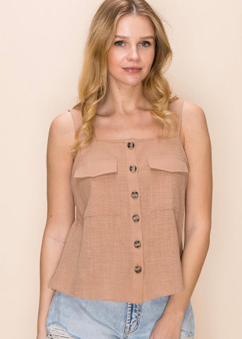 Linen Blend Taupe Utility Tank