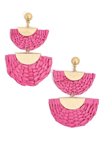 Woven Fuchsia Half Moon Earrings
