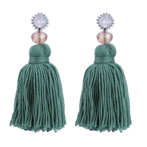 Seafoam Threaded Tassel Earrings