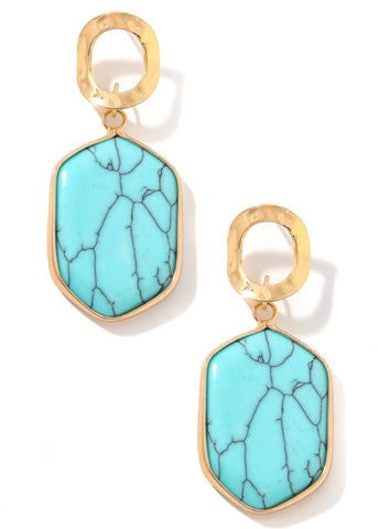 Turquoise Stone Hex Earrings