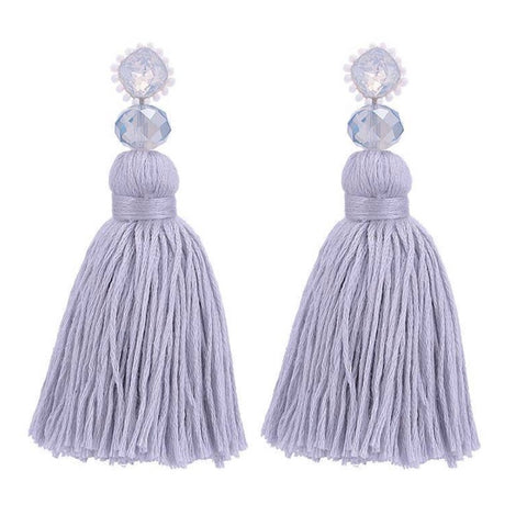 Grey Threaded Tassel Earrings