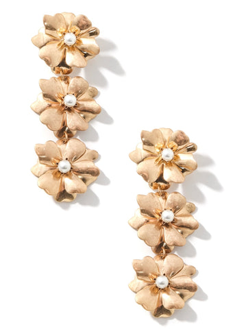 Tiered Floral Pearl Drop Earrings