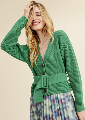 Green Belted Button Up Sweater