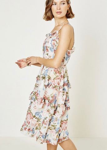 Floral Ruffled Midi Dress