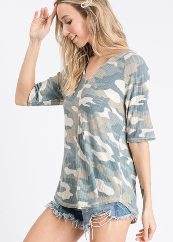 Camo Print Relaxed Top