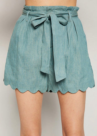 Scalloped Hem Seafoam Shorts