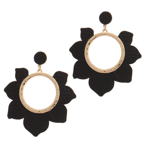 Black Flower Open Hoop Earrings