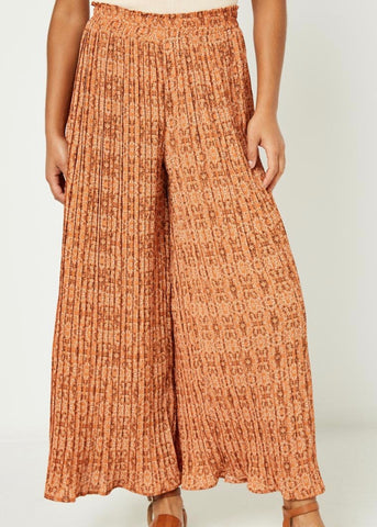 Pleated Botanical Wide Leg Pants