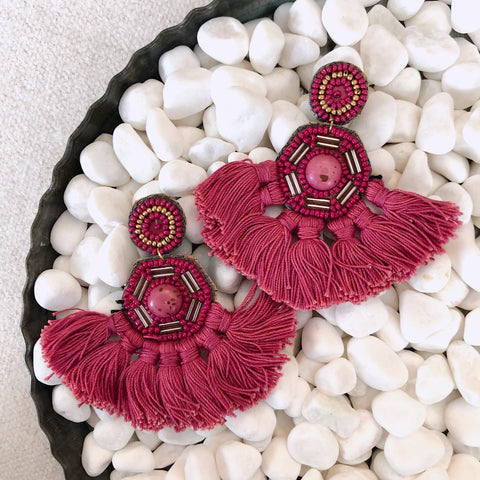 Fuchsia Fringe Fan Earrings