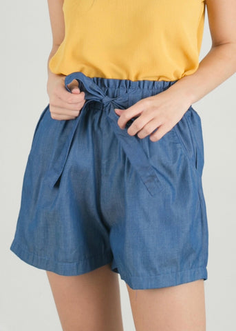 Chambray Tie Waist Shorts