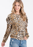Leopard Puff Sleeve Knit Top