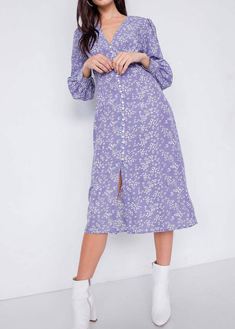 Ditsy Floral Lavender Midi Dress