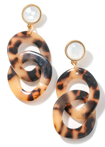 Tortoise Link Acetate Earrings