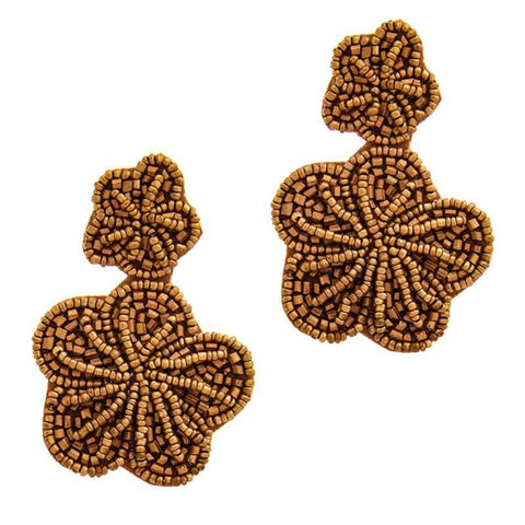 Matte Bronze Beaded Flower Earring