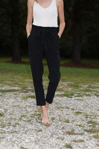 Black Cotton Paperbag Waist Pants