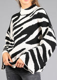 Zebra Print Mock Neck Sweater