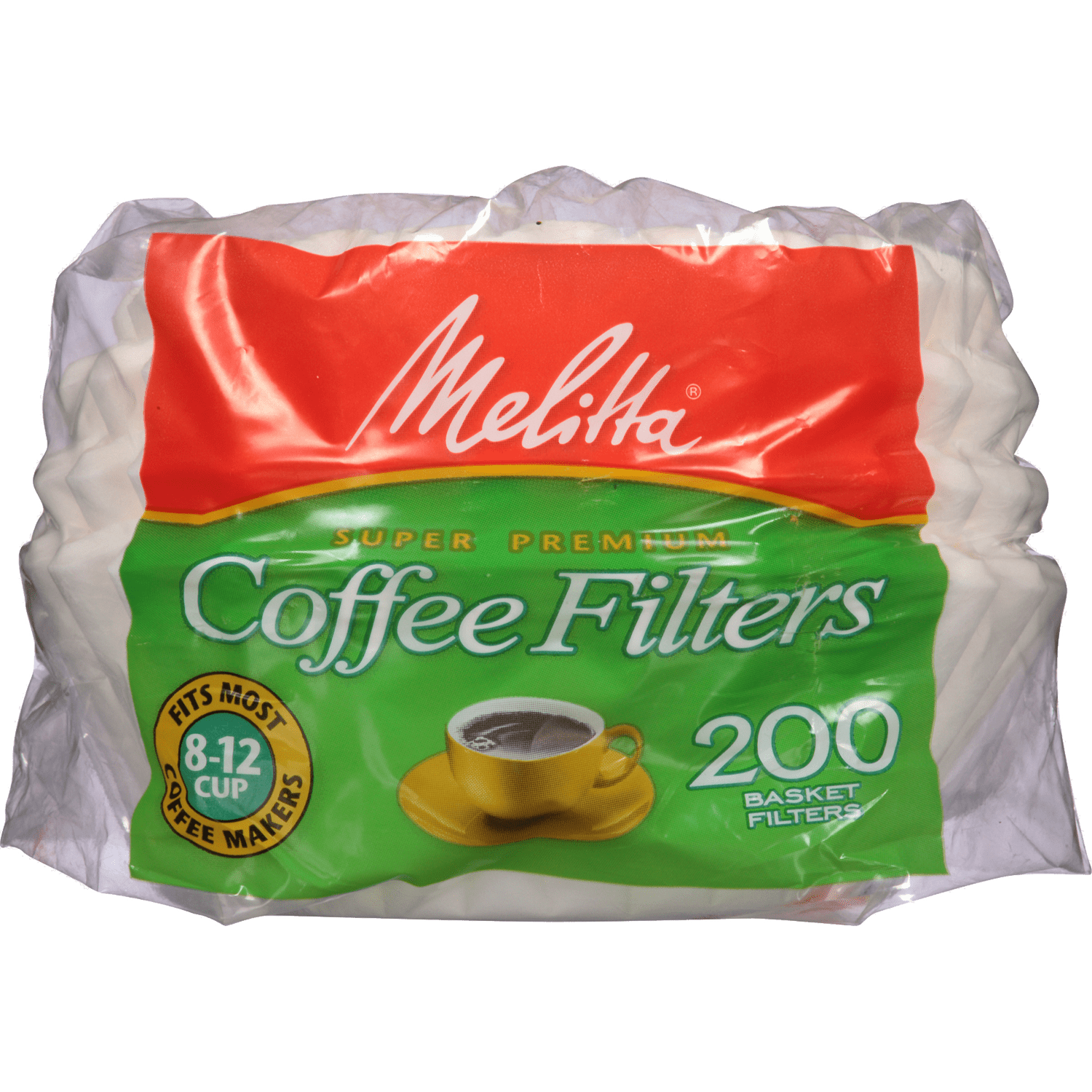 8-12 Cup Melitta Basket Filter Paper White - 200 Count