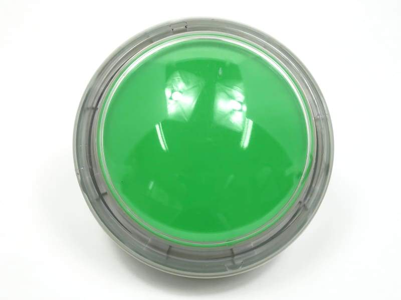 Big Dome Push Button - Green With Clear Case Rim - Buttons