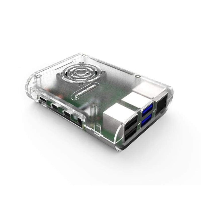 Case for Raspberry Pi 4 B - Cooling Fan and Heat Sink Included - Transparent - Raspberry Pi Enclosures