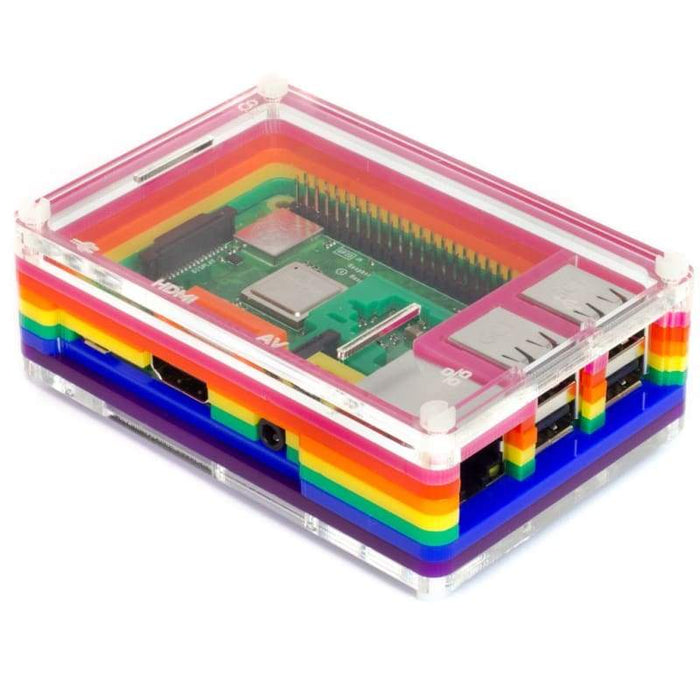 Pibow 3 B+ (Raspberry Pi 3 B+ 3 & 2) - Rainbow - Raspberry Pi Enclosures