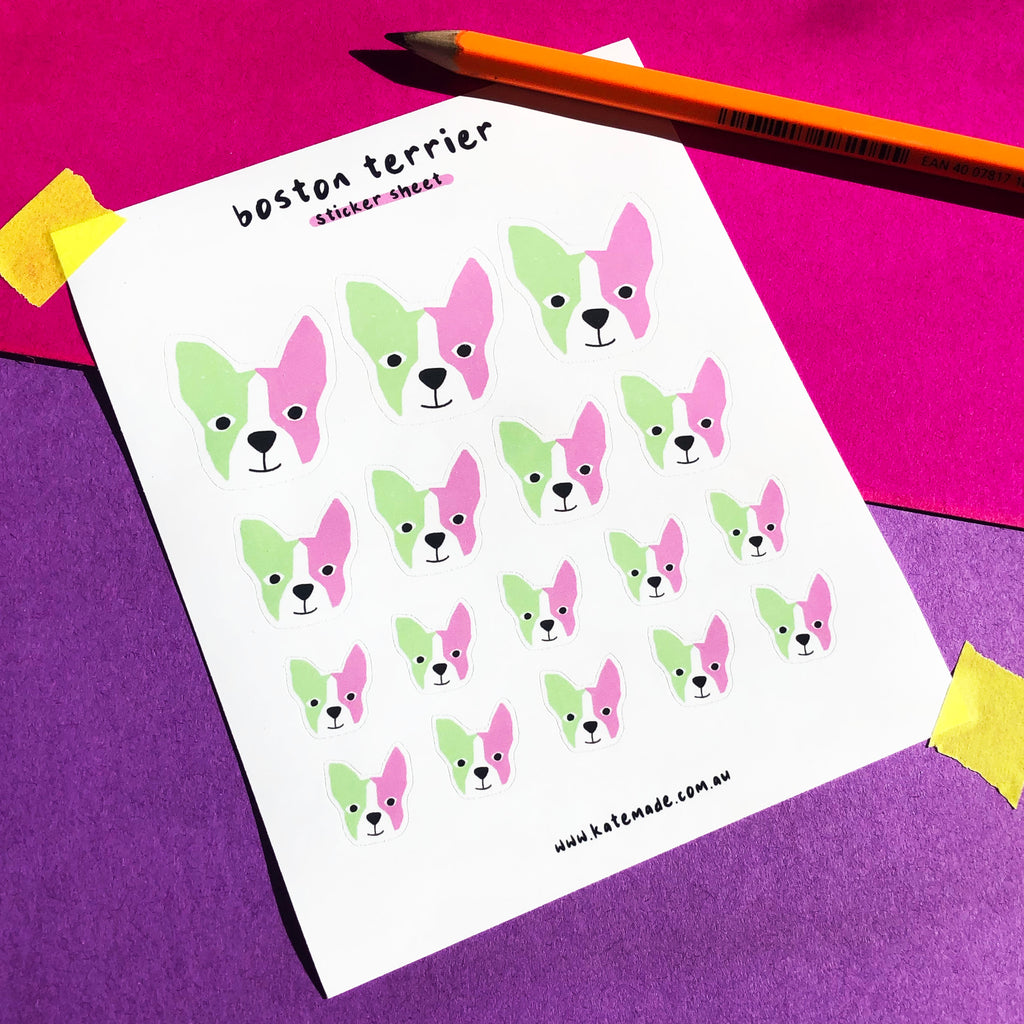 Boston Terrier Sticker Sheet (Pink and Green)