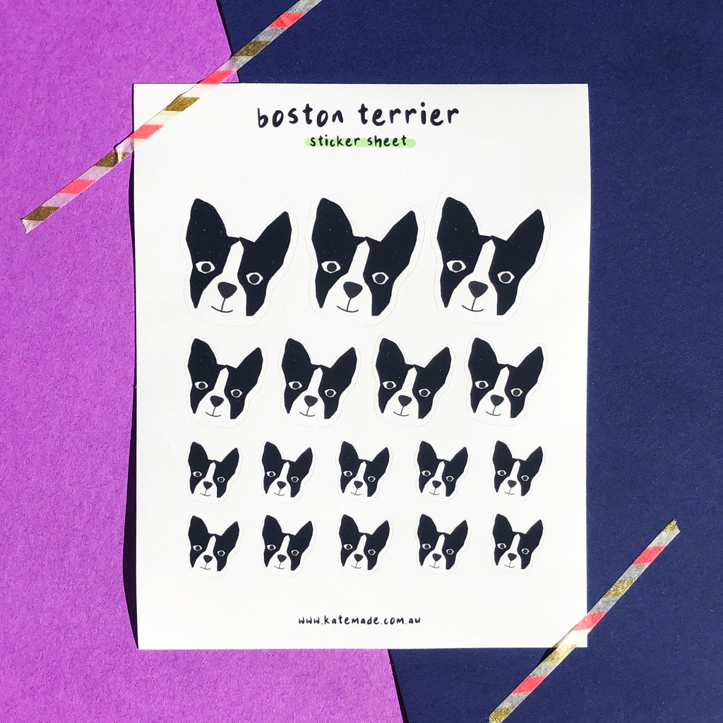 Boston Terrier Sticker Sheet (Black and White)