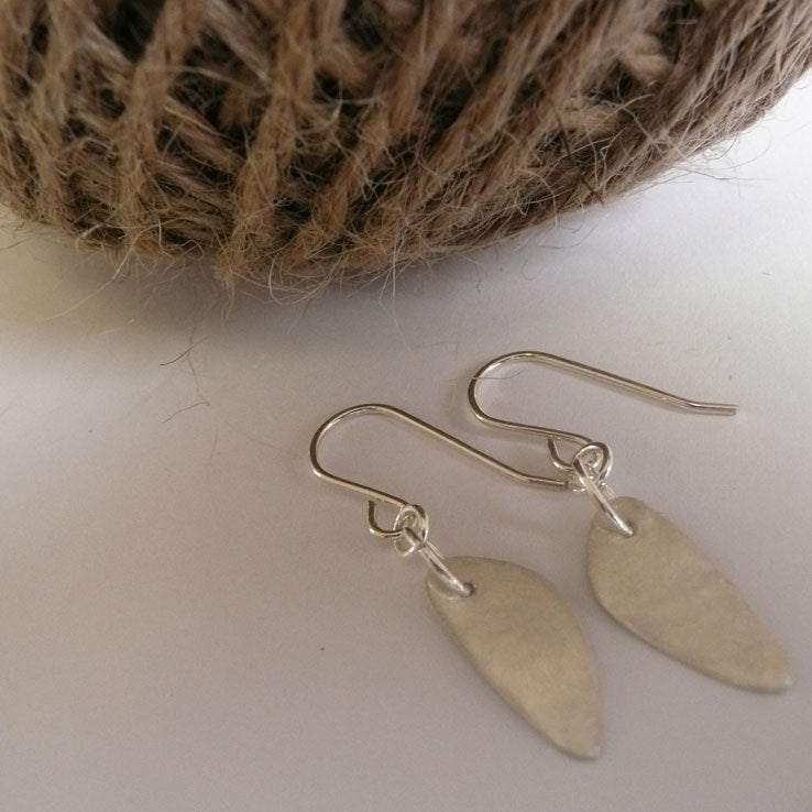 Sterling silver oblong earrings